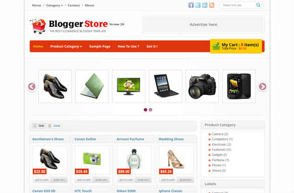 Blogger Store blogger template screen