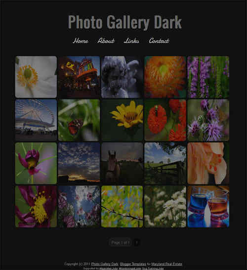 Photo Gallery Dark blogger template screen
