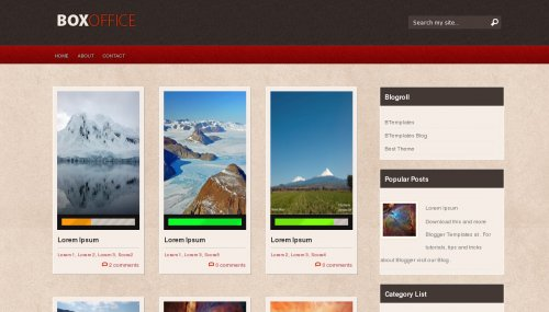 Box Office blogger template screen