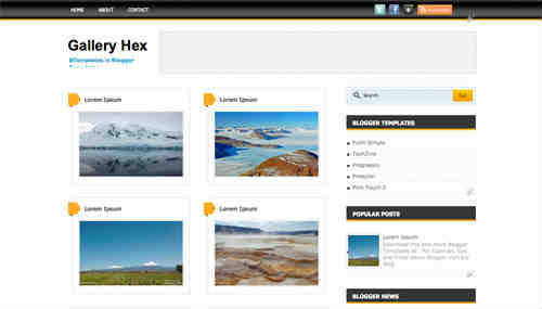 Gallery Hex blogger template screen