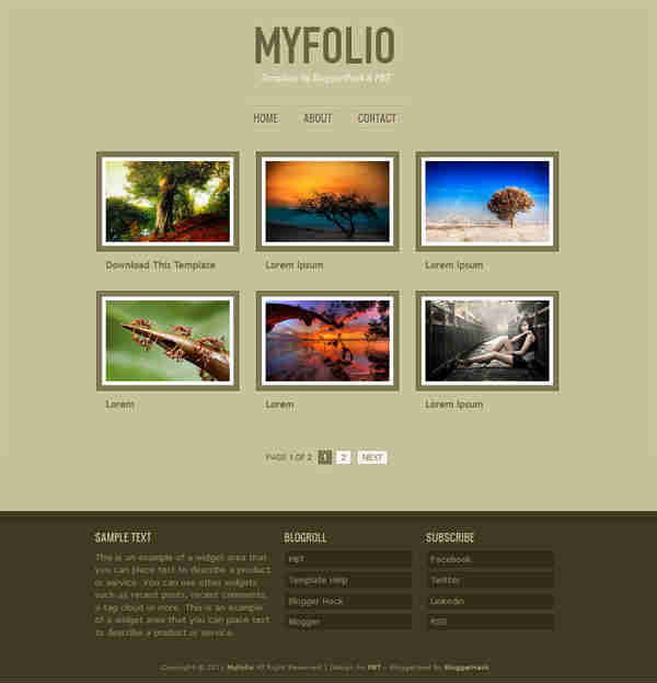 myfolio blogger template screen