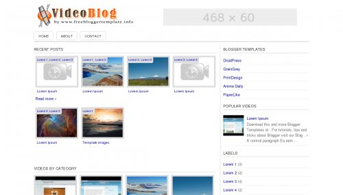 SimpleVideoblog blogger template screen