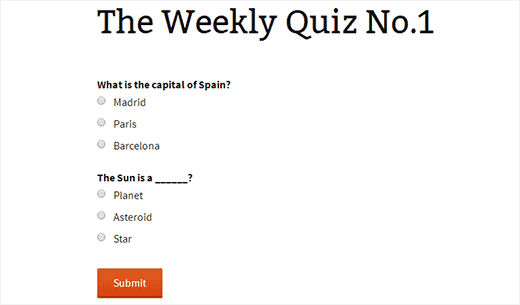 the weekly quiz