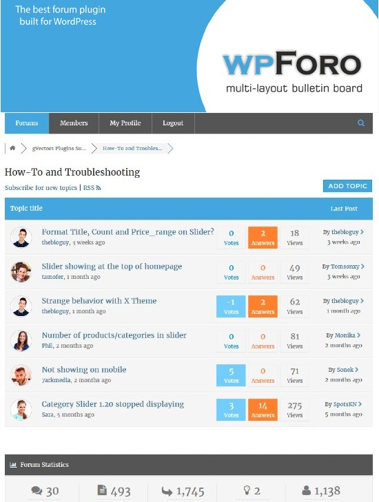 wpForo WordPress Forum Eklentisi